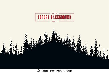 Pine forest background vector drawn sketch - Pine forest...