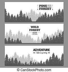 Pine forest horizontal banner vector set