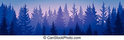 Pine Forest Landscape Mountain Sky Woods Flat Vector...