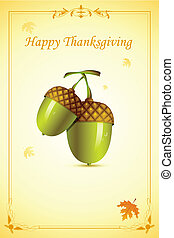 illustration of pair of pine fruit in thanksgiving card