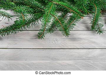 Pine on wood background