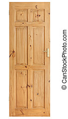 Wooden panel door with brass handle isolated on with with clipping path