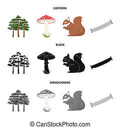 Pine, poisonous mushroom, tree, squirrel, saw. Forest set collection icons in cartoon, black, monochrome style bitmap symbol stock illustration web.
