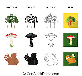 Pine, poisonous mushroom, tree, squirrel, saw. Forest set collection icons in cartoon, black, outline, flat style bitmap symbol stock illustration web.