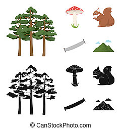 Pine, poisonous mushroom, tree, squirrel, saw. Forest set collection icons in cartoon, black style symbol stock illustration web.
