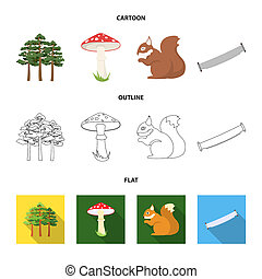 Pine, poisonous mushroom, tree, squirrel, saw. Forest set collection icons in cartoon, outline, flat style bitmap symbol stock illustration web.