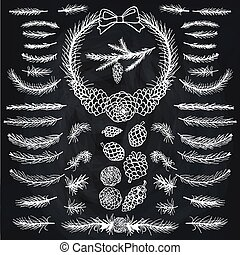 Christmas tree decor elements for invitations, card, banner. Spruce branches, pine, cones white silhouette set. Brushes, wreath, line borders. New year holiday vector, nature Winter template. Chalkboard
