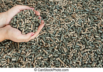 Pine, sunflower and oak pellets - Different kind of pellets...
