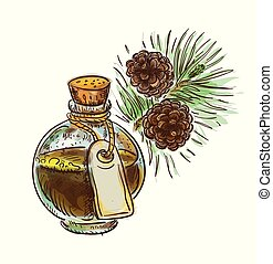 Pine tar in a bottle with branch. Watercolor imitation with sketch.