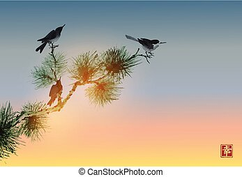 Pine tree branch and birds on sunrise sky background. Traditional Japanese ink wash painting sumi-e. Hieroglyph - happiness