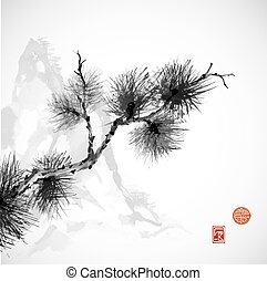 Pine tree branch and mountains hand-drawn in traditional Japanese style sumi-e on white background. Sealed with decorative stylized stamps.