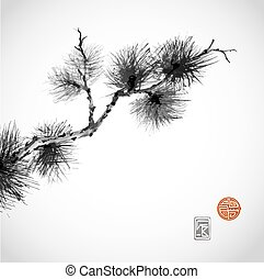 Pine tree branch hand-drawn with ink in traditional Japanese...