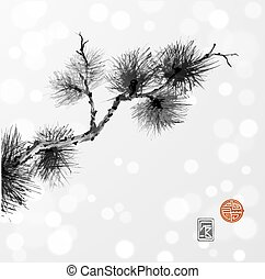 Pine tree branch hand-drawn with ink