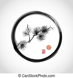Pine tree branch in black enso circle hand-drawn in...