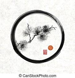 Pine tree branch in black enso zen circle - Pine tree branch...
