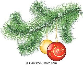 Pine tree branch with decorative ba