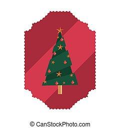 pine tree christmas label decoration