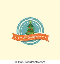 Pine tree christmas label