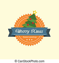 Pine tree christmas label