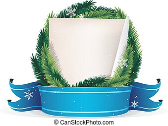 Pine Tree Christmas Wreath and sheet of paper