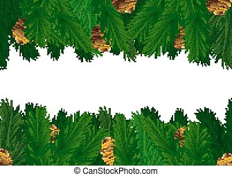 Pine Tree Cones on Green Spruce Branches Vector