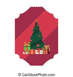 pine tree gifts christmas label decoration