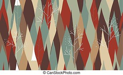 Pine tree in autumn season seamless