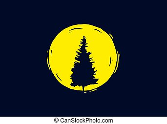 Pine tree in front of the moon