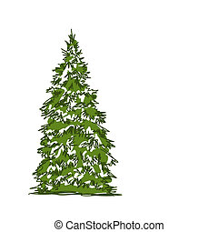 Pine tree isolated on white, sketch for your design