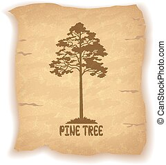 Pine Tree on Old Paper