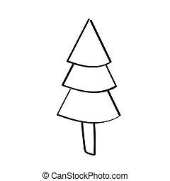 pine tree plant nature line style icon