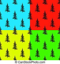 Pine tree seamless pattern on colors backgrounds. Simple illustration of pine tree pattern for web