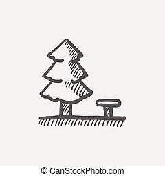 Pine tree sketch icon for web and mobile. Hand drawn vector...