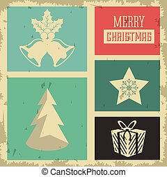 Pine tree, star and bell icon. Merry Christmas design. Vector graphic