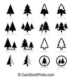Pine tree vector icons set - Pine trees, forest or park ...