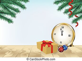 Pine tree with gift box and Christmas decoration on wooden background