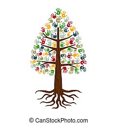 Pine tree with hand print art diverse people sign
