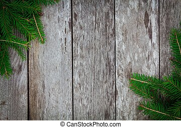 Pine tree with on old wooden background