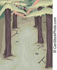 Pine Tree Woods - Background Illustration of a Woody Area...