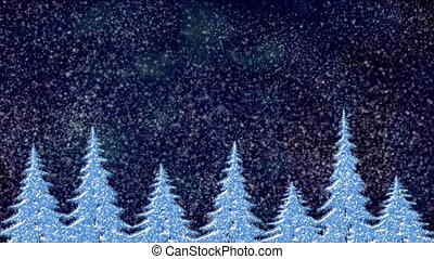 Pine trees at snowfall at night, frosty landscape, winter...