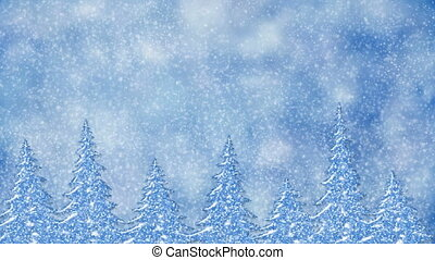 Pine trees at snowfall, frosty landscape, winter snow scene...