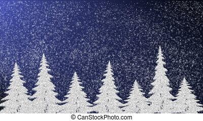 Pine trees at snowfall, snowflakes falling and icicles,...