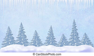 Pine trees at snowfall, snowflakes falling and icicles,...