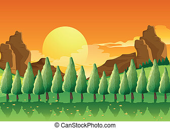 Pine trees - Illustration of the pine trees