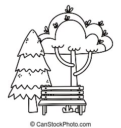 pine trees foliage bench park nature isolated icon line style