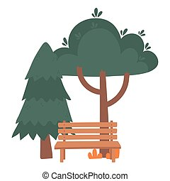 pine trees foliage bench park nature isolated icon style