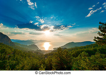 pine trees in the mountains and the rising sun over the sea