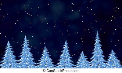 Pine trees in the starry night, frosty landscape, winter...