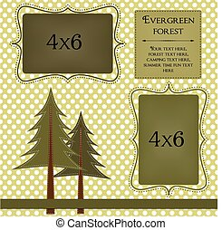 Pine trees on a polka dot background