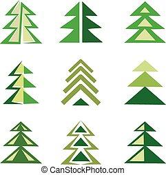 pine trees set of symbols